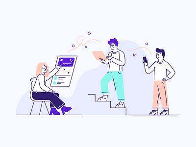 Why Spendesk - Illustration 1/3 remote remotework work graphic design outline 2d vector design branding illustrator illustration