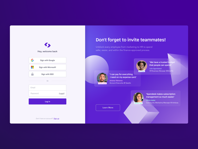 Spendesk Login Page levitating shapes purple form login login page graphic design love testimonial quotes ux ui customer glassmorphism vector product visual features design spendesk branding
