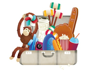 The Family Man suitcase map camera tickets circus road trip travel family theatre foam finger croquet fun