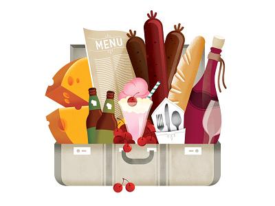 The Foodie sausage wisconsin cheese menu ice cream food wine bread beer suitcase cherries travel