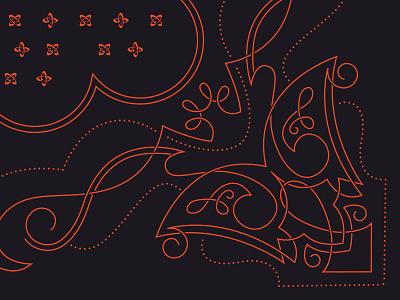 Bandananana bandana western cowboy party filigree swirls linework pattern