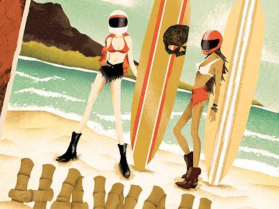 H-D Moto Surfer Girls moto skull helmets beaches babes girls hawaii surfing motorcycles harley-davidson