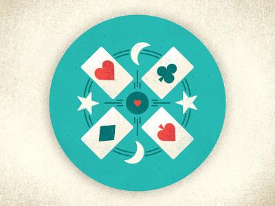 Nighttime Card Playin' games sticker friends deck sky moon stars night cards