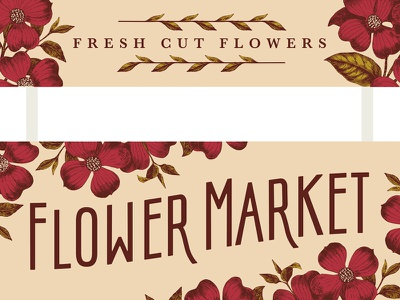 Flower Booth market flowers signage vintage typography home and gardens flower booth