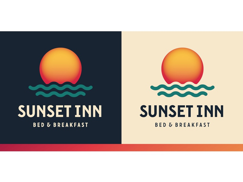 Bed & Breakfast warm gradient waves sunset logo green bay bed and breakfast