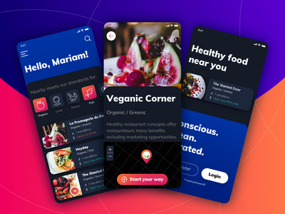 Restaurant mobile app dark mode search restaurant app health minimal cxdojo organic vegan uidesign uiux food map healthy mobile app mobile app restaurant dark app dark theme dark mode dark ui