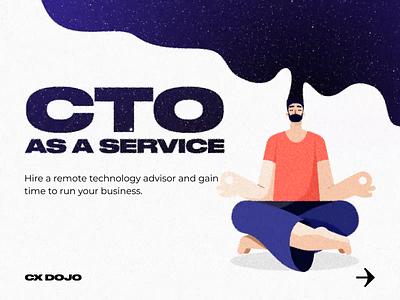 CTO as a service nirvana space brain mind meditation technology caracter cartoon cxdojo cx software services vector cto illustration development video gif animation motion