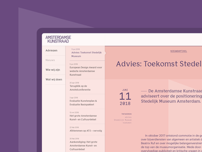 Article View – Amsterdamse Kunstraad reader mode news advice read reading article website webdesign web ux user interface user experience ui navigation serif typography minimal interface element design