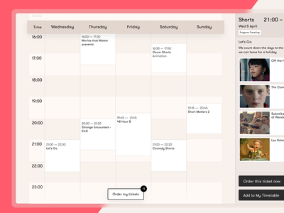 Personal Timetable – Go Short Film Festival personal website webdesign web ux user interface user experience ui typography minimal interface design festival timetable