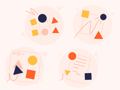 Illustration set – HR Project Advice humane soft purple dark blue yellow orange triangle square circle primary movement shapes simple illustration