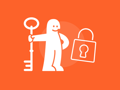 Safeguard Project Results Illustration – HR Project Advice protecting locked happy illustration white satisfied lock key man circle orange