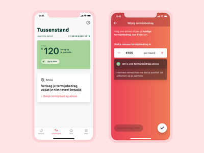 Forecast Overview & Adjust Monthly Payment View – Eneco returns monthly payment dutch ios glanceable card stepper adjust design user interface interface ux ui app
