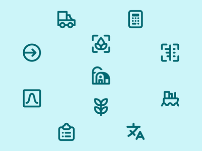 Design System Icons – NutriOpt for Nutreco animals food feed language boat exit graphic clipboard soya plant produce nir scan calculator truck farm icon