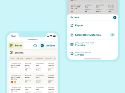 Mobile Table View & Actions – NutriOpt for Nutreco