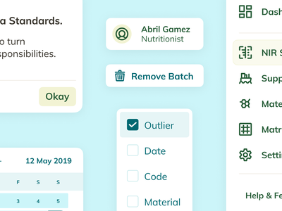 Design System Components – NutriOpt for Nutreco library checklist menu planner user bin delete remove checkbox buttons ux ui elements components system design