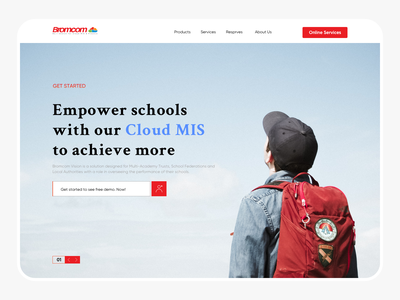 Bromcom Education Web Design slide slides button hover footer red landing page design landingpage landing cover education website banner slider education website design webdesign website