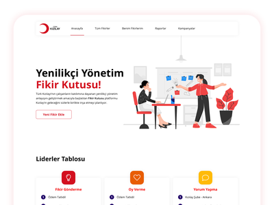 Turk Kizilay - Cube of Idea Portal Page color palette slider user experience ux illustrations illustration art illustrator ideas idea red intranet website design web web design webdesign website