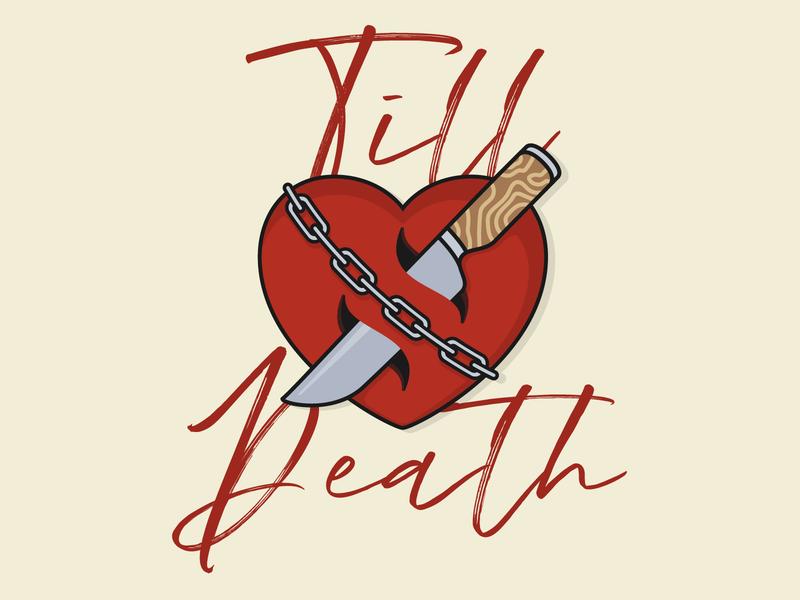 Valentines tattoo traditional classic heart logo until death till love chain knife heart valentine valentines