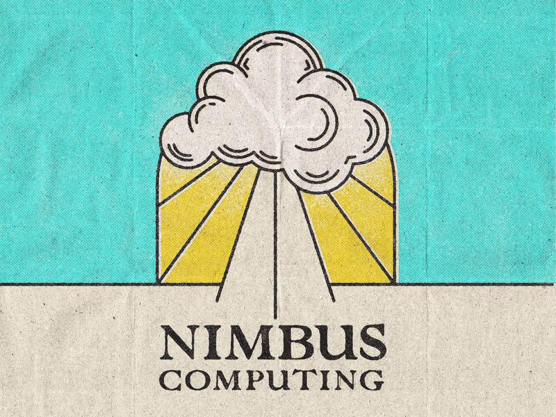 Nimbus Computing print matchbox grunge texture poster art nimbus cloud poster design old vintage grunge poster