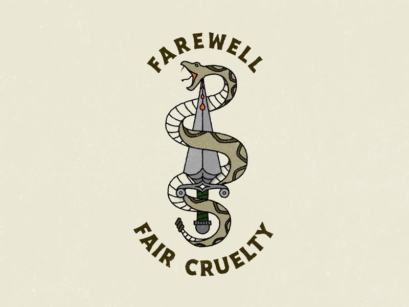 Farewell vintage blood snakes dagger lettering design distressed illustration tattoo design oldschool tattoo snake