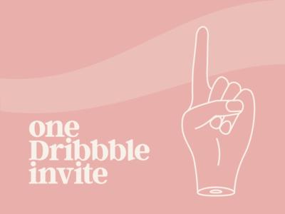 One Dribble Invite one illustration design monoline hand dribbble invite invite