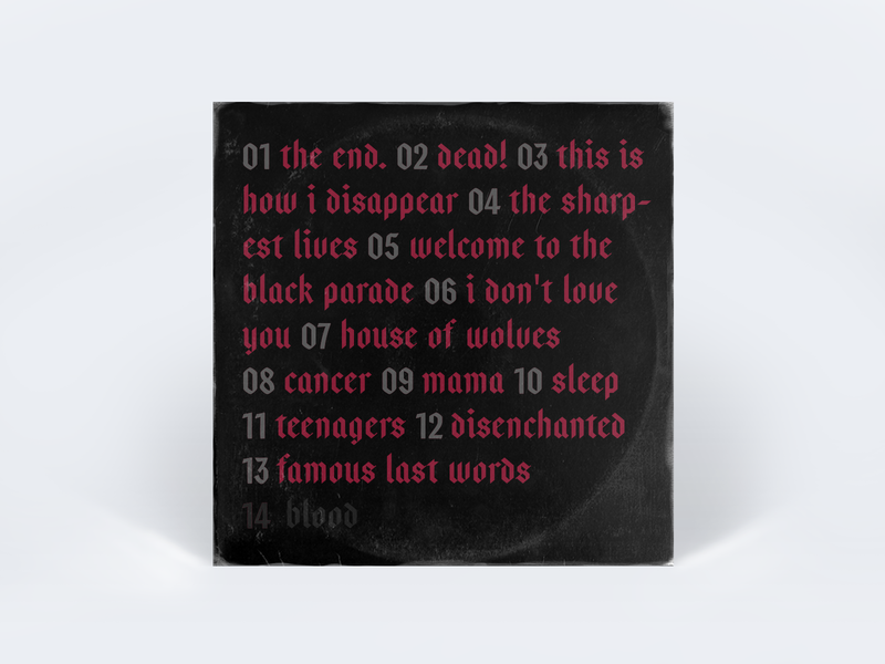 They are back! design mockup tracklist sleeve vinyl chemical my chemical romance mcr