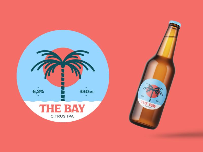 The Bay Citrus IPA beer label beer branding the bay bay design branding ipa summer beach palmtree palm illustration package design package label beer
