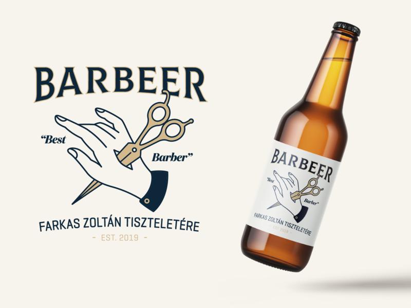 Barbeer classic classical lettering design branding typogaphy monoline beer art beer branding barber scissors illustration hand bottle packagedesign packaging beer label beer