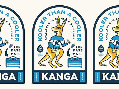 Kanga Badge vintage mascot retro koozie cooler beer south carolina badge typography identity design branding illustration kangaroo