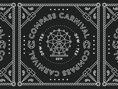 Compass Carnival dfw dallas state fair texas corndoy merch carnival event apparel bandana illustration