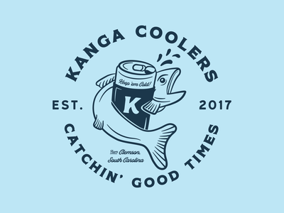 Kanga -  Catchin'  Good Times beer branding hand drawn illustration apparel fishing south carolina cooler bass
