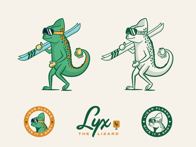 LIQXR Flasks - 02 chameleon mascot lettering alcohol flask vintage lizard typography badge branding illustration