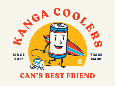 Kanga - Can's Best Friend americana typography badge cooler surf apparel branding illustration can beer can beer