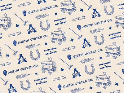 Austin Oyster Co. - 01 knife star bluebonnet cooler horseshoe illustration austin texas austin oyster brand identity logo branding brand