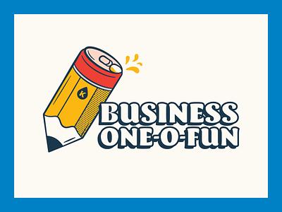 Kanga - Business One-0-Fun Podcast branding design cooler school pencil beer branding illustraion beer podcast