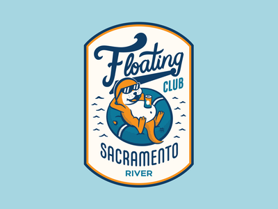 Upper Park - Floating Club badge lettering beer sacramento california river floating branding illustration shirt apparel mascot otter