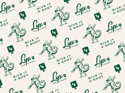 LIQXR - Brand Pattern monogram badge icon branding flask liquor lizard mascot illustration