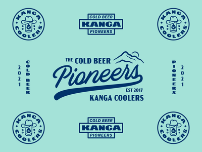 Kanga - Cold Beer Pioneers cooler type merch apparel pioneers mountain beer badge lettering typography branding cowboy illustration