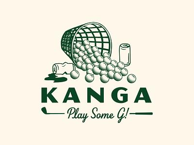 Kanga - Play Some G vector logo typography badge can coolers beer golf ball golfing branding apparel driving range illustration