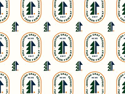 Johnston Gray - Brand Pattern typography apparel golfing flag illustration pattern logo icon badge tree outdoors golf branding