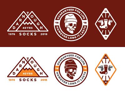 Darn Tough Stickers simple sock tough anvil badge identity branding outdoors mountain sticker