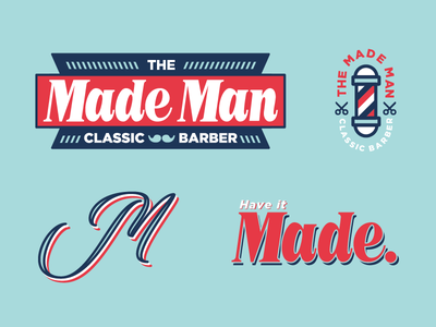 Made Man pt.2 vintage classic style scissors texas typography type lettering blue branding logo barber