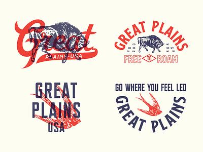 Great Plains, USA pt. 2 lettering type ss nickson print apparel bird bison kansas texas oklahoma americana great plains