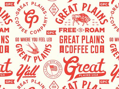 Great Plains, USA pt. 4 western texas oklahoma americana coffee lettering typography identity design logo branding illustration pattern