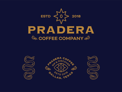 Pradera Coffee badge americana logo type typography texas design branding illustration coffee