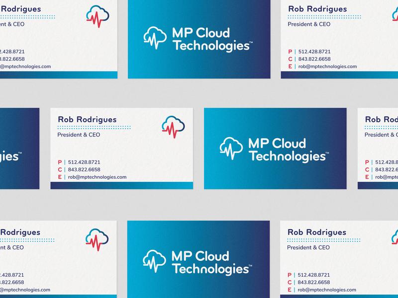 MP Cloud - 01 type logo idenity gradient pulse cloud business cards branding medical