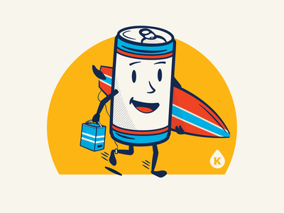 Kanga - Surfer Brew mascot vintage cartoon character illustration surfer cooler beer can surf