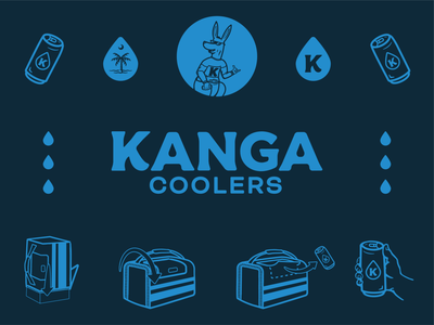 Kanga Coolers Branding typography lettering design illustration branding logo beer branding beer alcohol surf south carolina kangaroo cooler