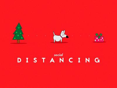 Social distancing christmas tree gift dog christmas illustrator vector illustration