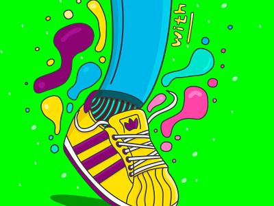 Walk with style - Adidas color adidas sneakers digitalart adobe design illustrator vector illustration
